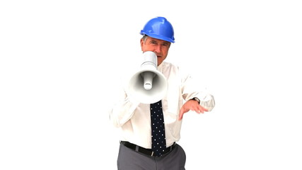 A mature architect shouting through a loudspeaker