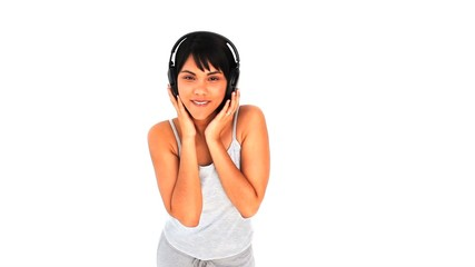 Lovely asian lady with headphones