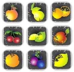 Icon set of various fruit and vegetables. Illustration fruits.