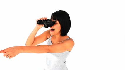 Casual asian woman with binoculars