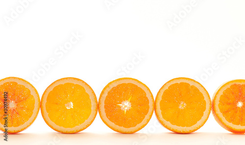 Row of shining orange slices