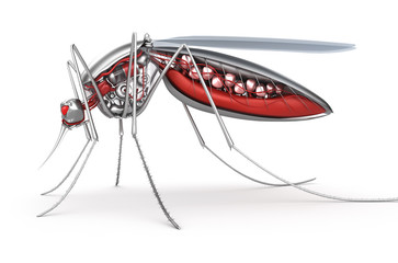 Mosquito. Robot bloodsucker. Isolated on white.