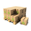3d A wooden pallet being loaded with boxes