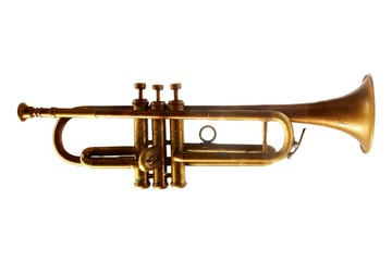 Vintage golden trumpet isolated on white background
