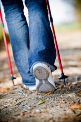 Walking with nordic walking sticks