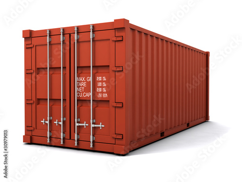 3d Red cargo container