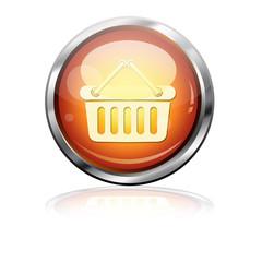 Boton futurista pictograma cesta compra