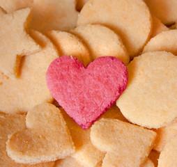 Biscuits aux amandes et coeur d'amoureuse