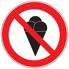 Zeichen Essen Eis verboten