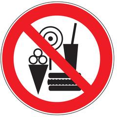 Zeichen Essen, Getränke und Eis verboten