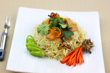 Spicy Indian style rice noodles with peanut sauce