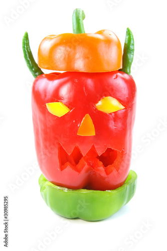 Monster head made with different type of  peppers