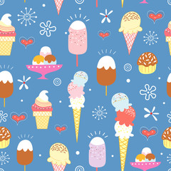 pattern of bright ice cream