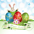 Easter card with bunny, butterflies and decorated egg on grass