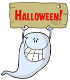 Ghost Holding Up A Wooden Halloween Sign