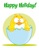 Happy Holiday Text Above A Yellow Chick Smiling