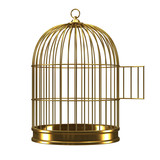 3d Gilded bird cage with open door