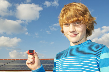 Boy with solar car