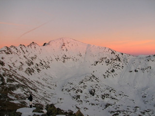 Winter landscape in the mountains  - sunset colors