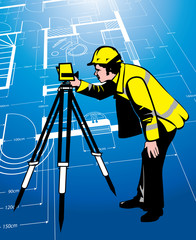 surveyor on an abstract drawing background