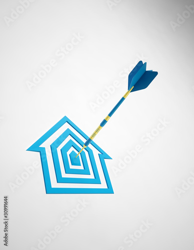 House shaped dartboard - Real estate concept