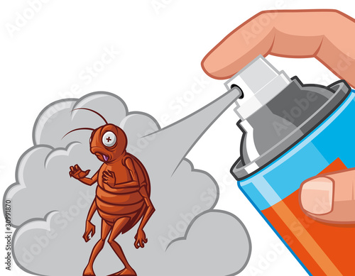Spraying  insecticide on cockroach