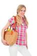 Junge Frau mit gesunden Einkäufen