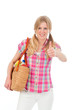 Junge Frau mit gesunden Einkäufen und Daumen hoch