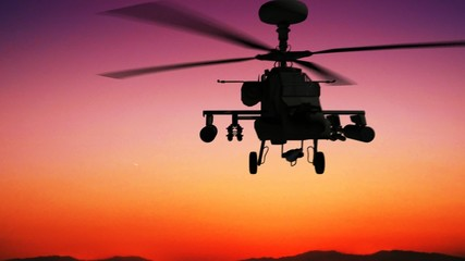 Apache helicopter in the sky during sundown HD
