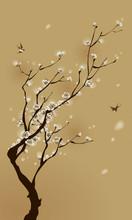 Orientalischen Stil Malerei, Pflaume Blüte im Frühjahr