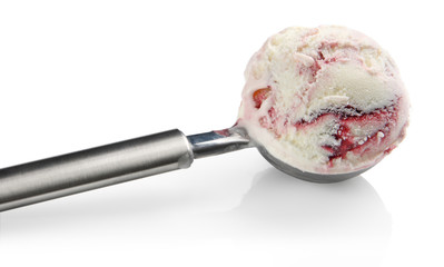 Ice cream in stainless steal ice cream scoop