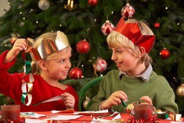 Children Making Christmas Decorations Together