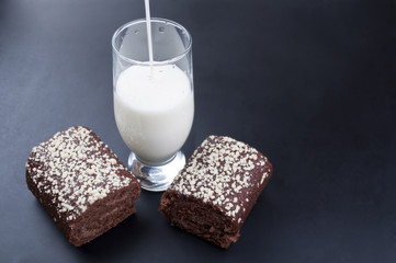chocolate roll and a glass of milk
