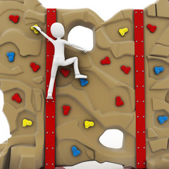 3d man escalating a climbing wall