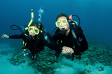happy couple scuba dive together poster
