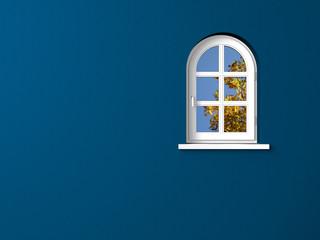 Bogenfenster dunkelblau