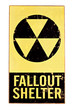 nuclear atomic fallout shelter sign isolated on white