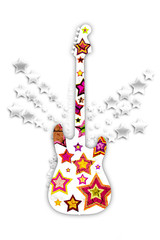 guitar with stars