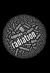 Radiation word collage isolated on black