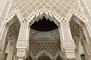 Decorated arches and columns inside the Alhambra of Granada, Spa