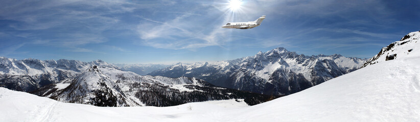 executive jet in winter panorama