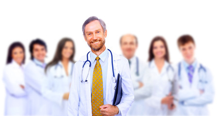 Portrait of group of smiling hospital colleagues standing