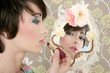 retro woman mirror lipstick makeup tacky