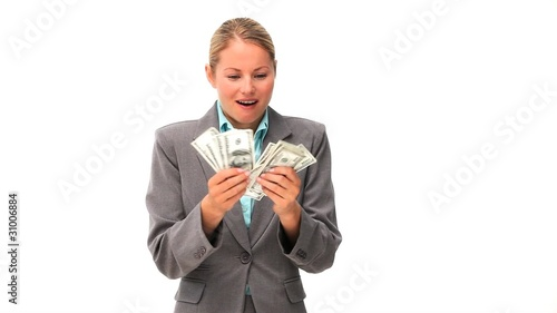 Lovely business woman showing off his cash