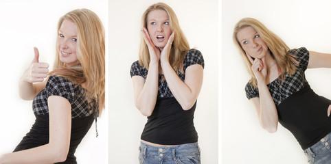Collage Gesten einer jungen Frau