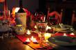 Leinwanddruck Bild - Gedeckter Tisch romantischer Abend