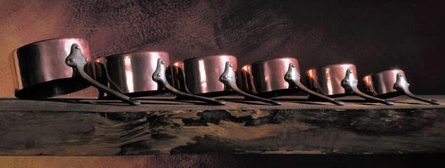 Antique copper pans lined