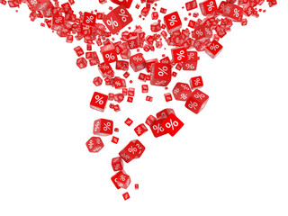 Falling red cubes with percent