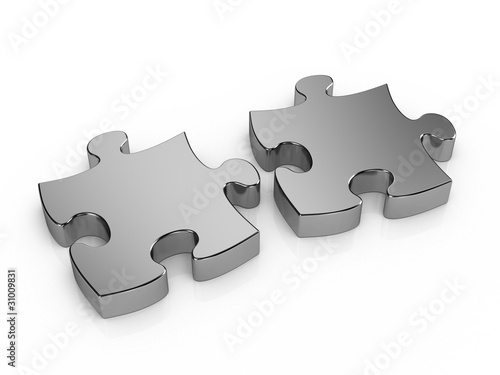 Two pieces metal puzzle