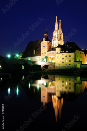 Old Town of Regensburg in the twilight, Germany